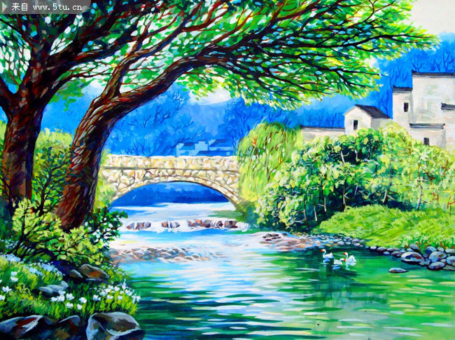 Oil Painting Images Download: 村边小河油画图片 家居墙绘素材-油画-百图汇素材网